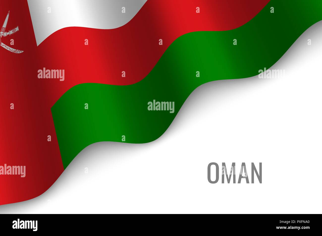 waving flag of Oman with copyspace. Template for brochure. vector illustration - Stock Vector
