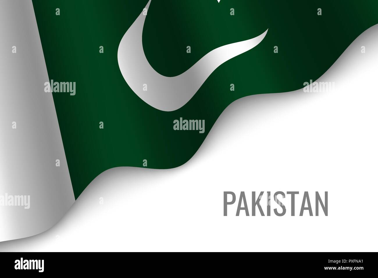 waving flag of Pakistan with copyspace. Template for brochure. vector illustration - Stock Vector