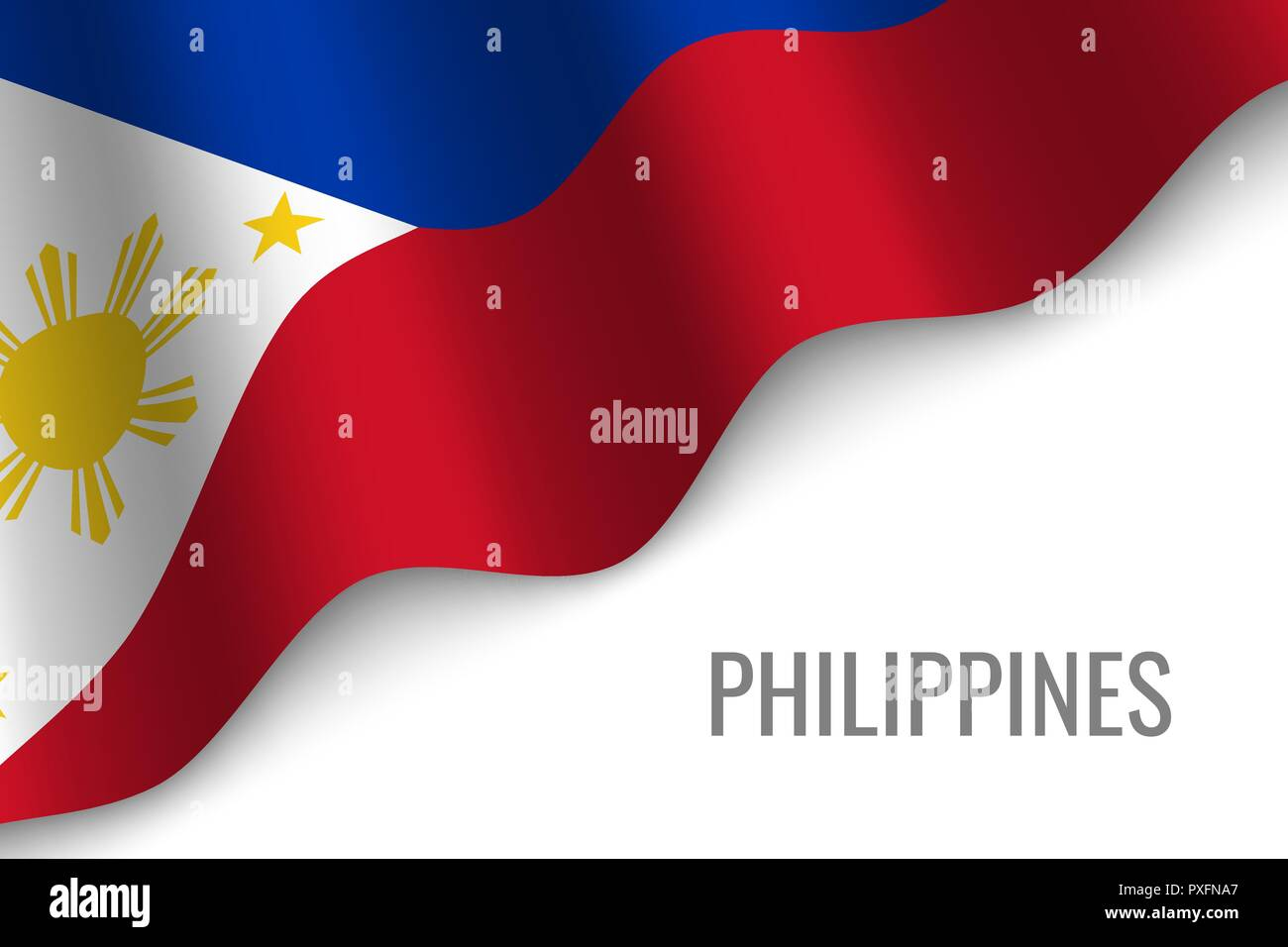 waving flag of Philippines with copyspace. Template for brochure. vector illustration - Stock Vector