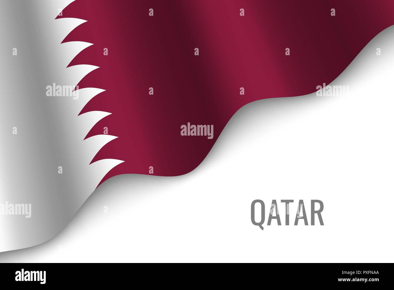 waving flag of Qatar with copyspace. Template for brochure. vector illustration - Stock Vector