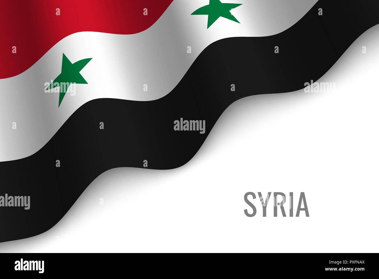 waving flag of Syria with copyspace. Template for brochure. vector illustration - Stock Vector