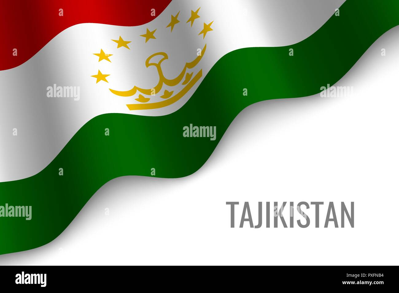 waving flag of Tajikistan with copyspace. Template for brochure. vector illustration - Stock Vector