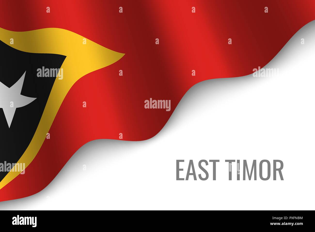 waving flag of East Timor with copyspace. Template for brochure. vector illustration - Stock Vector