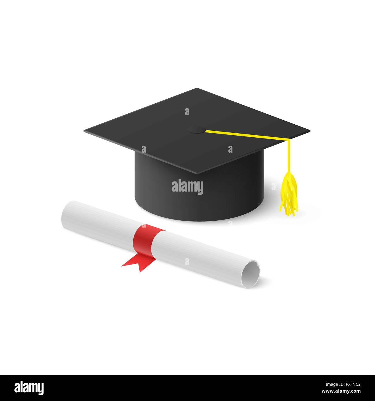 Realistic graduation hat and rolled diploma with red ribbon. Vector illustration isolated on white background Stock Vector