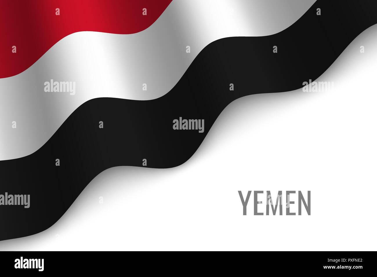 waving flag of Yemen with copyspace. Template for brochure. vector illustration - Stock Vector