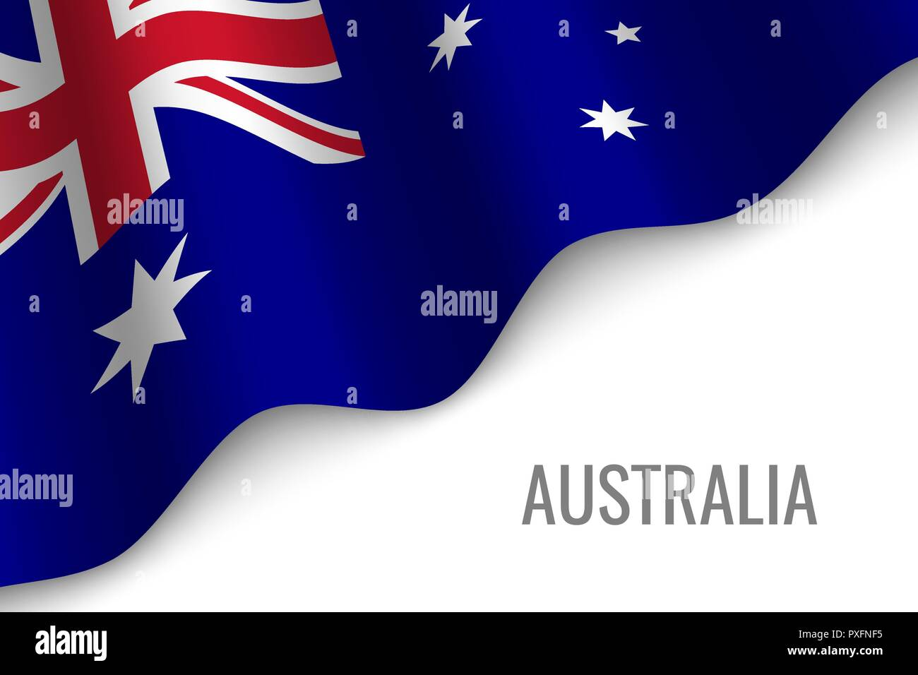 waving flag of Australia with copyspace. Template for brochure. vector illustration - Stock Vector