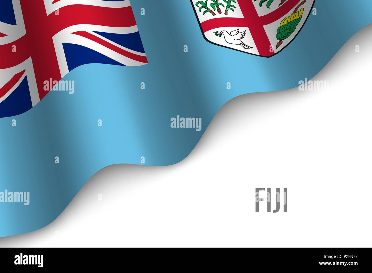 waving flag of Fiji with copyspace. Template for brochure. vector illustration Stock Vector