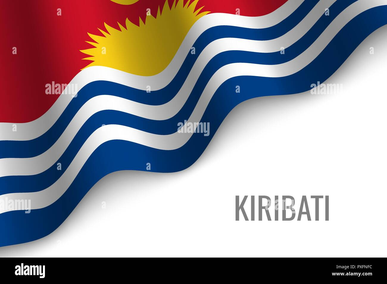 waving flag of Kiribati with copyspace. Template for brochure. vector illustration - Stock Vector