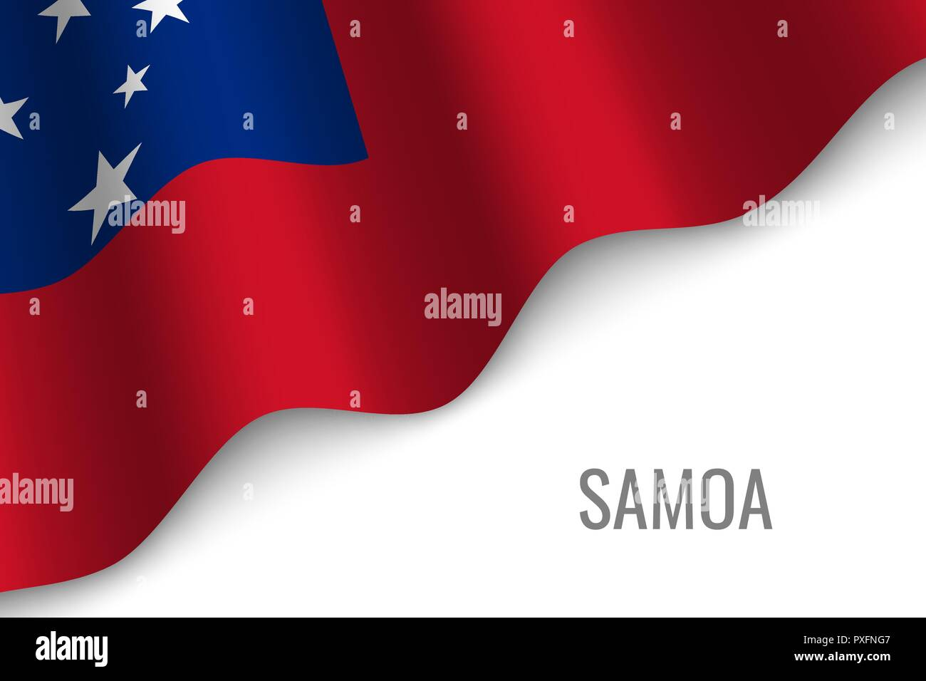 waving flag of Samoa with copyspace. Template for brochure. vector illustration - Stock Vector