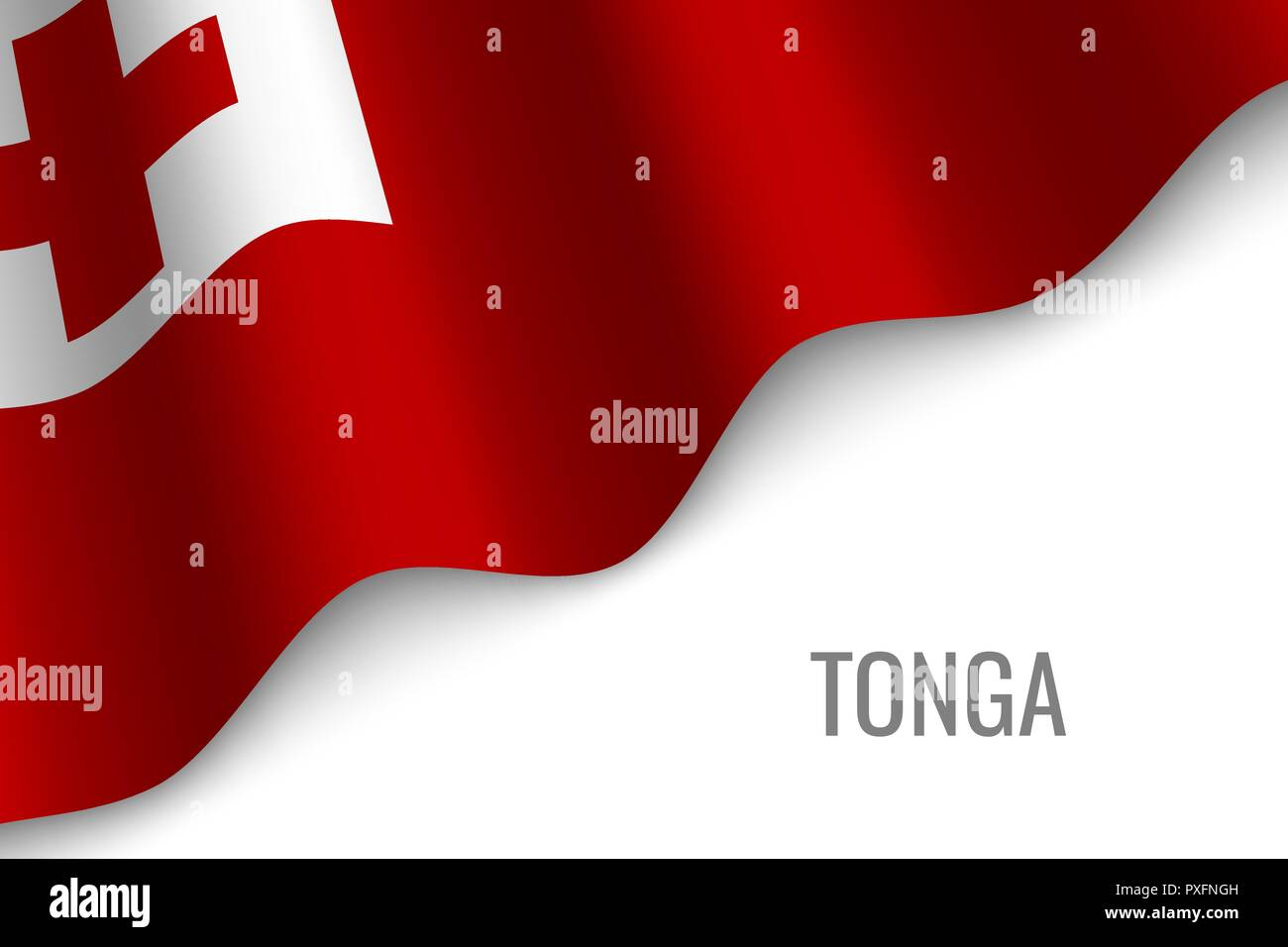 waving flag of Tonga with copyspace. Template for brochure. vector illustration - Stock Vector
