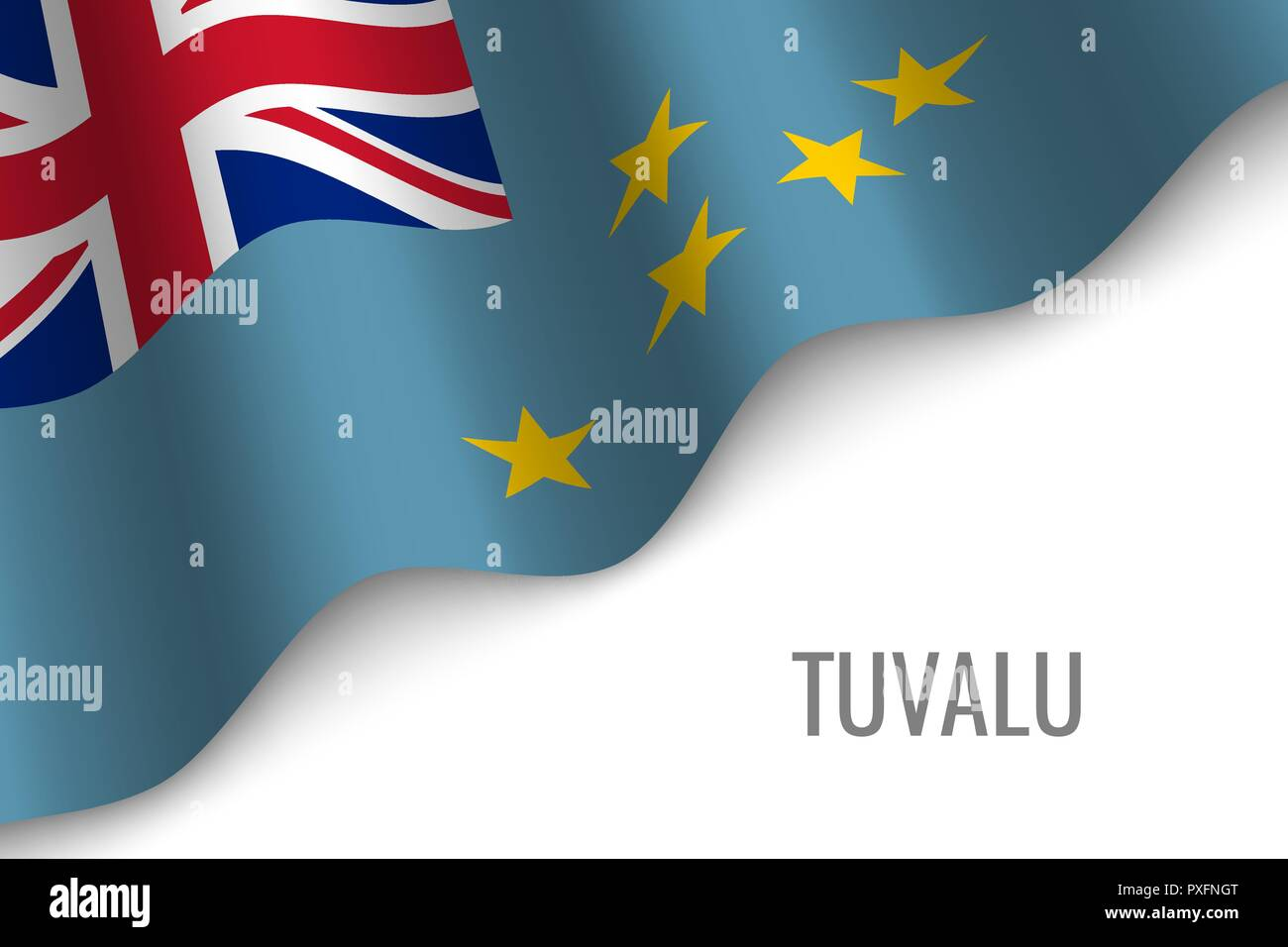 waving flag of Tuvalu with copyspace. Template for brochure. vector illustration - Stock Vector