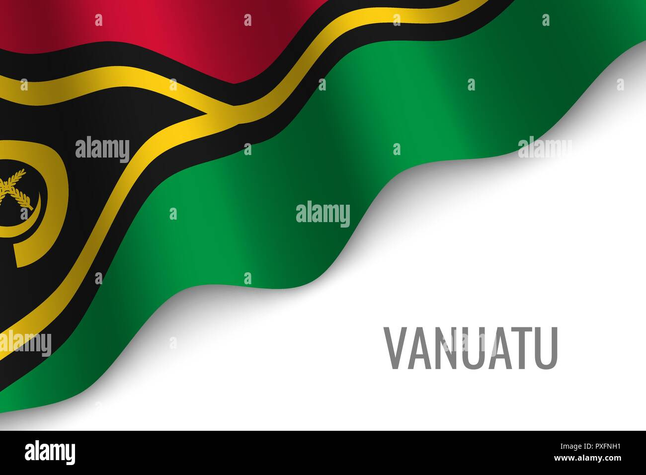 waving flag of Vanuatu with copyspace. Template for brochure. vector illustration - Stock Vector