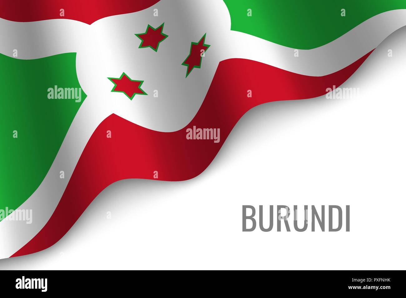waving flag of Burundi with copyspace. Template for brochure. vector illustration Stock Vector