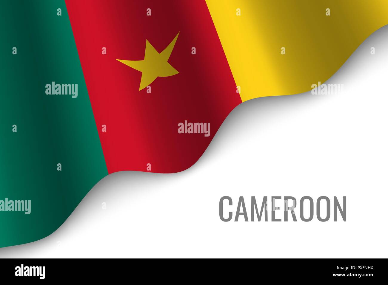 waving flag of Cameroon with copyspace. Template for brochure. vector illustration - Stock Vector