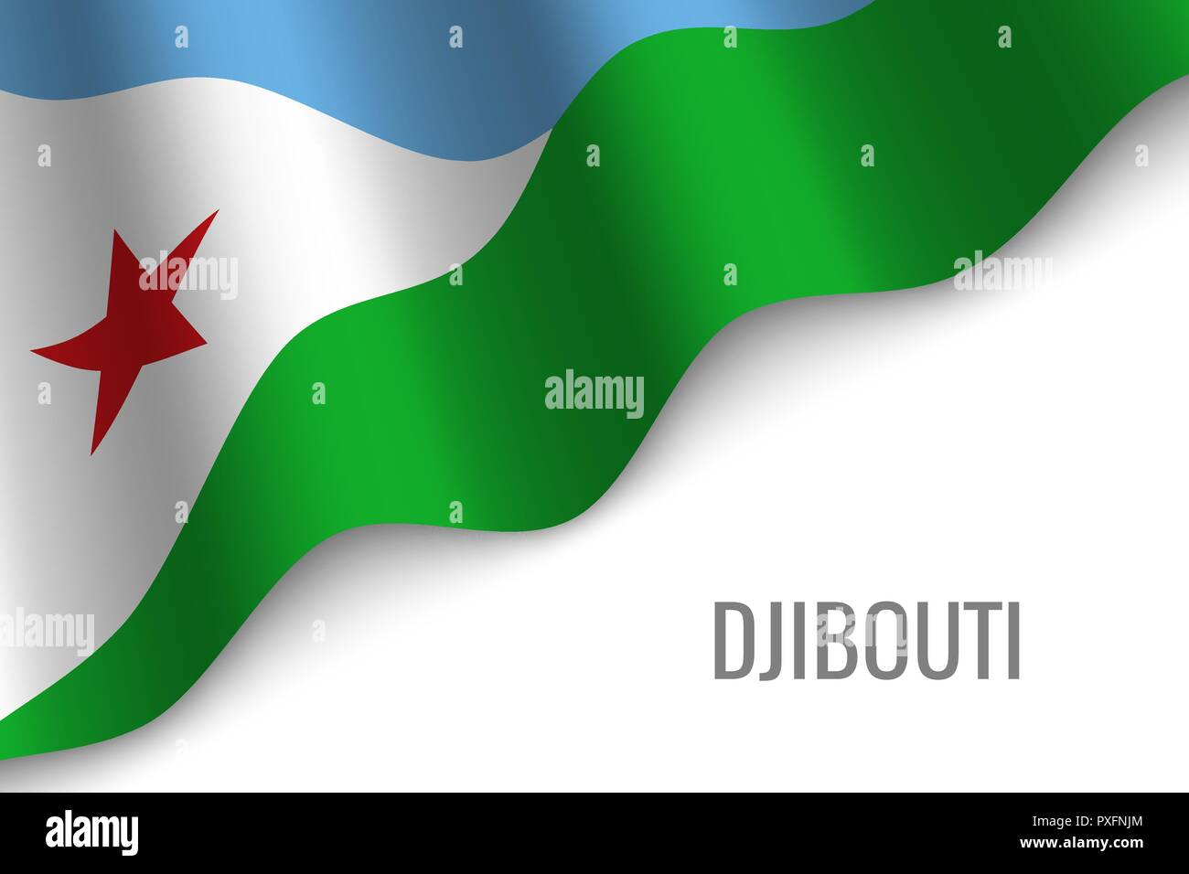waving flag of Djibouti with copyspace. Template for brochure. vector illustration - Stock Vector