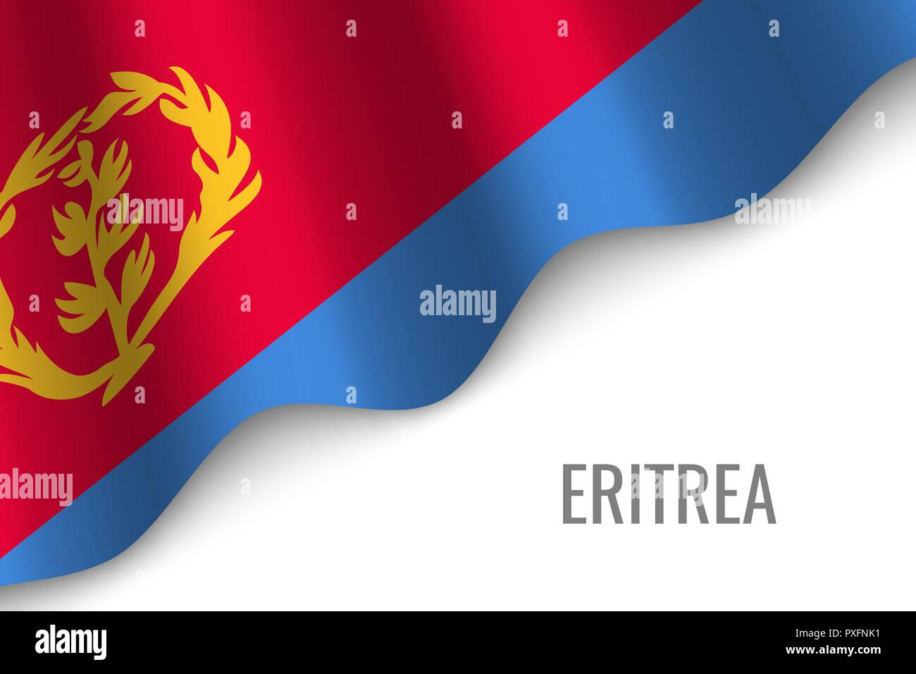 waving flag of Eritrea with copyspace. Template for brochure. vector illustration - Stock Vector