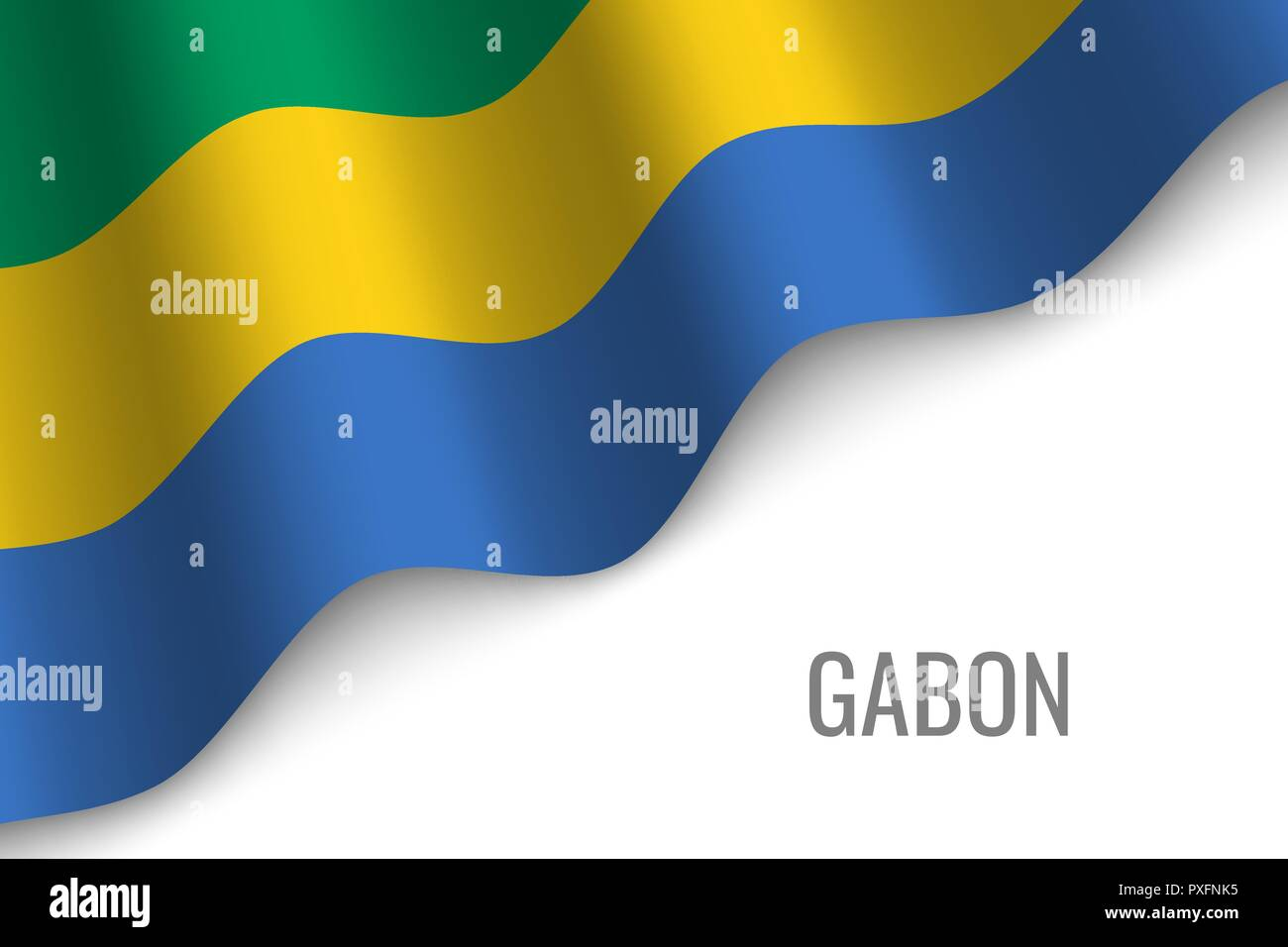 waving flag of Gabon with copyspace. Template for brochure. vector illustration - Stock Vector