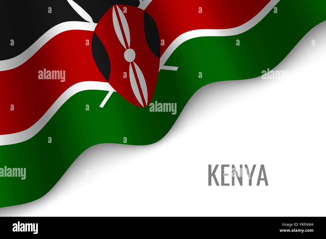 waving flag of Kenya with copyspace. Template for brochure. vector illustration - Stock Vector