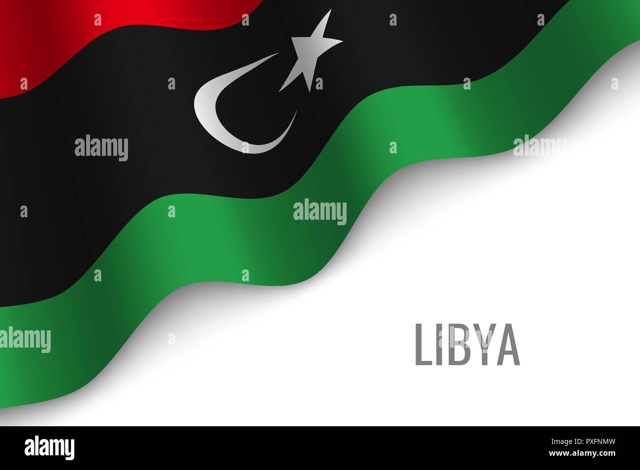 waving flag of Libya with copyspace. Template for brochure. vector illustration - Stock Vector