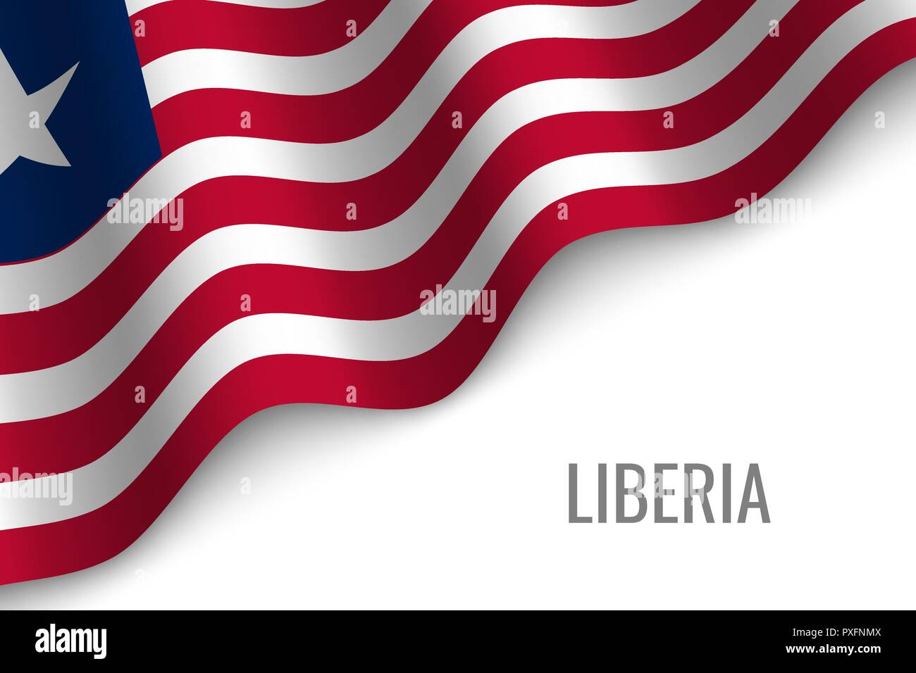 waving flag of Liberia with copyspace. Template for brochure. vector illustration - Stock Vector
