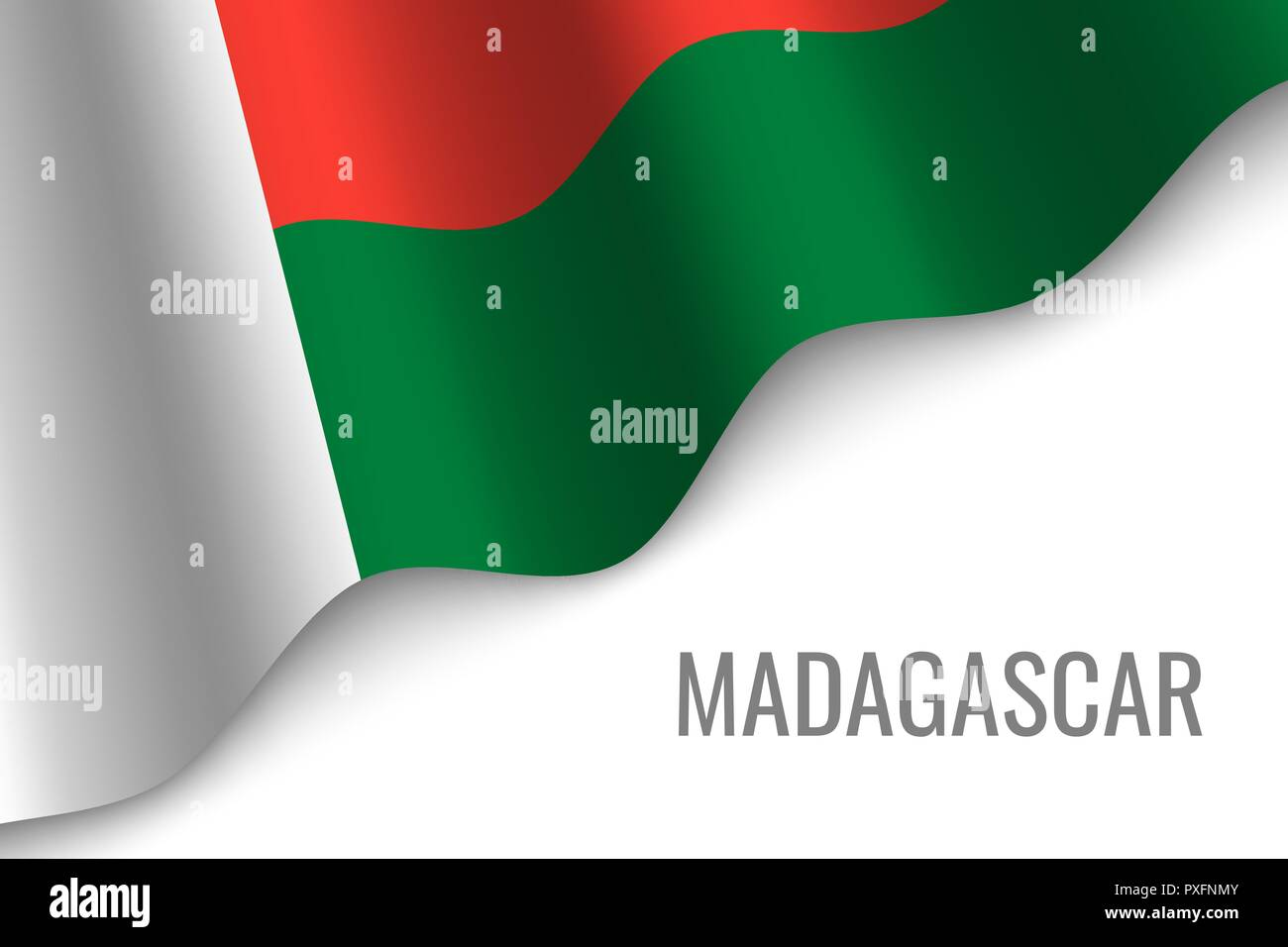 waving flag of Madagascar with copyspace. Template for brochure. vector illustration - Stock Vector