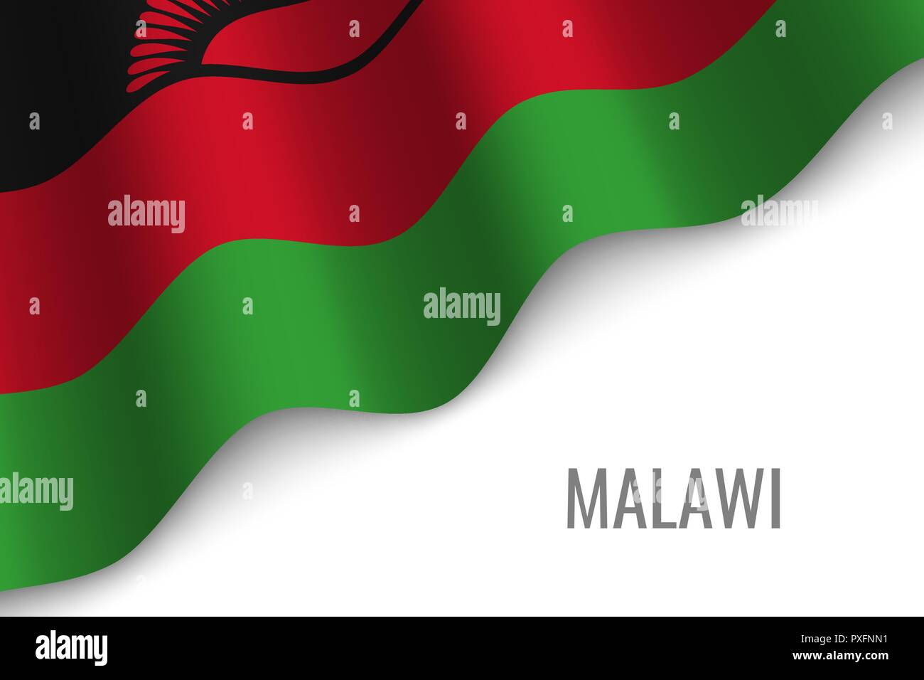 waving flag of Malawi with copyspace. Template for brochure. vector illustration - Stock Vector