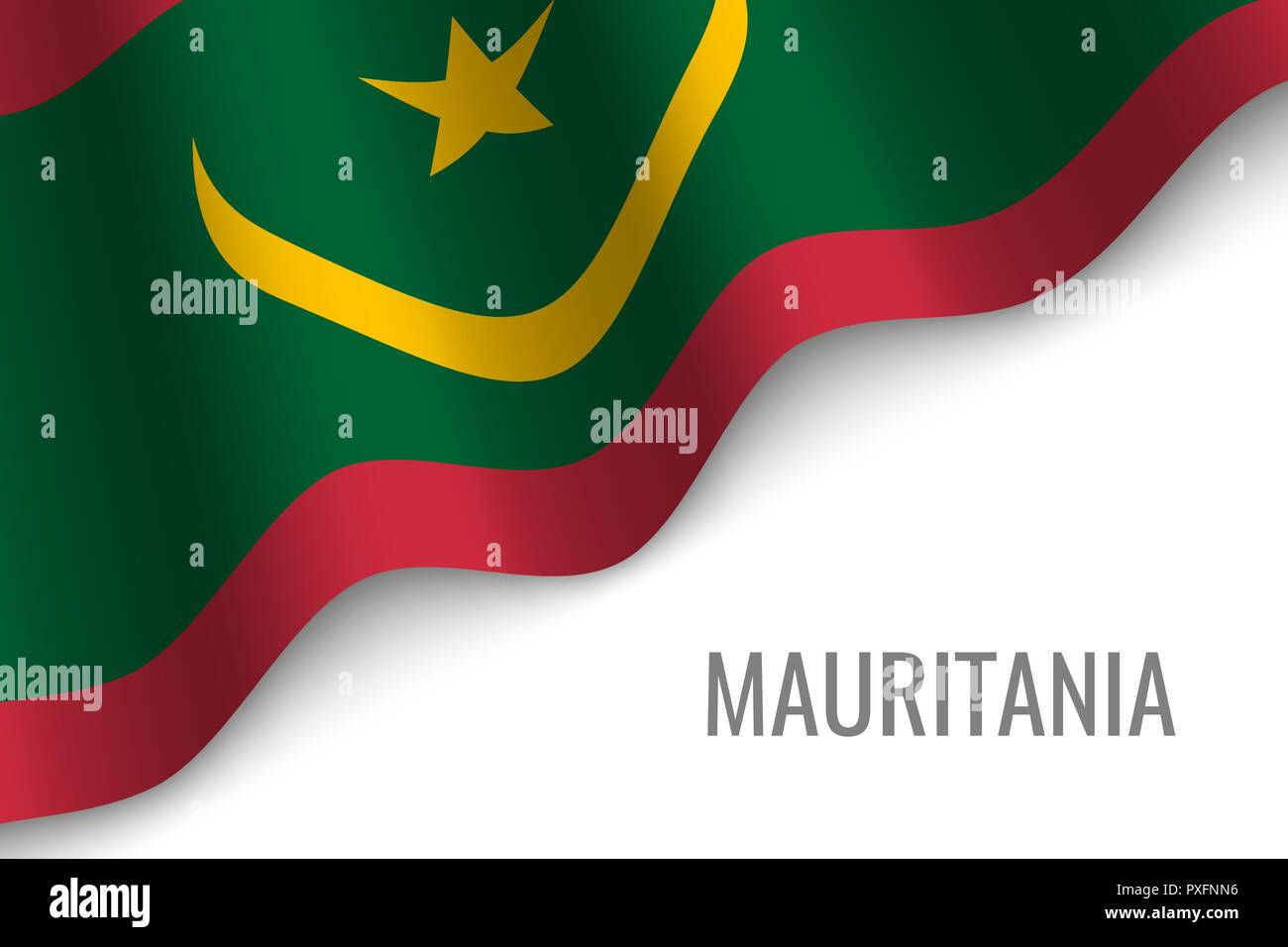 waving flag of Mauritania with copyspace. Template for brochure. vector illustration - Stock Vector
