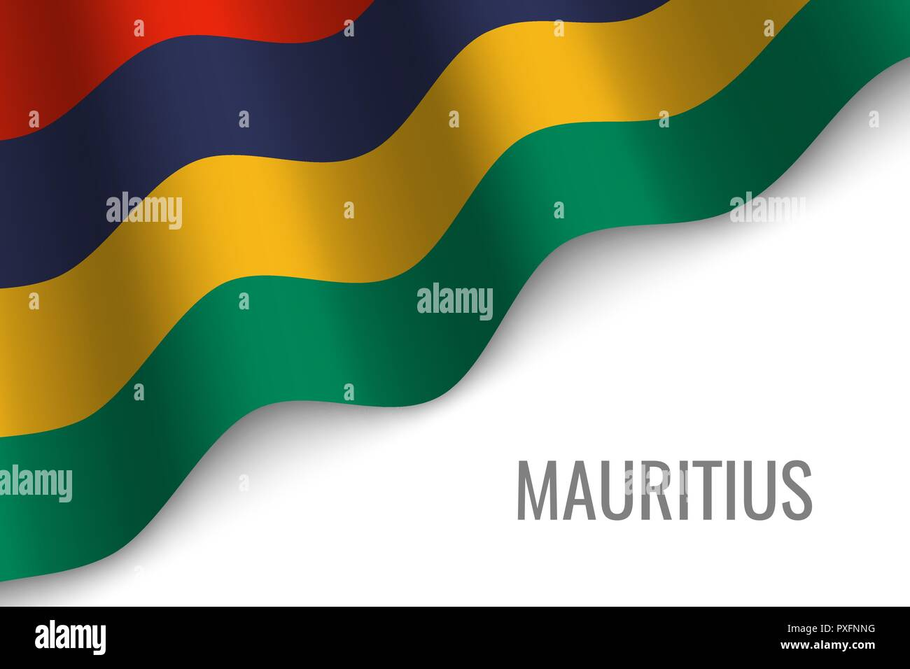 waving flag of Mauritius with copyspace. Template for brochure. vector illustration - Stock Vector