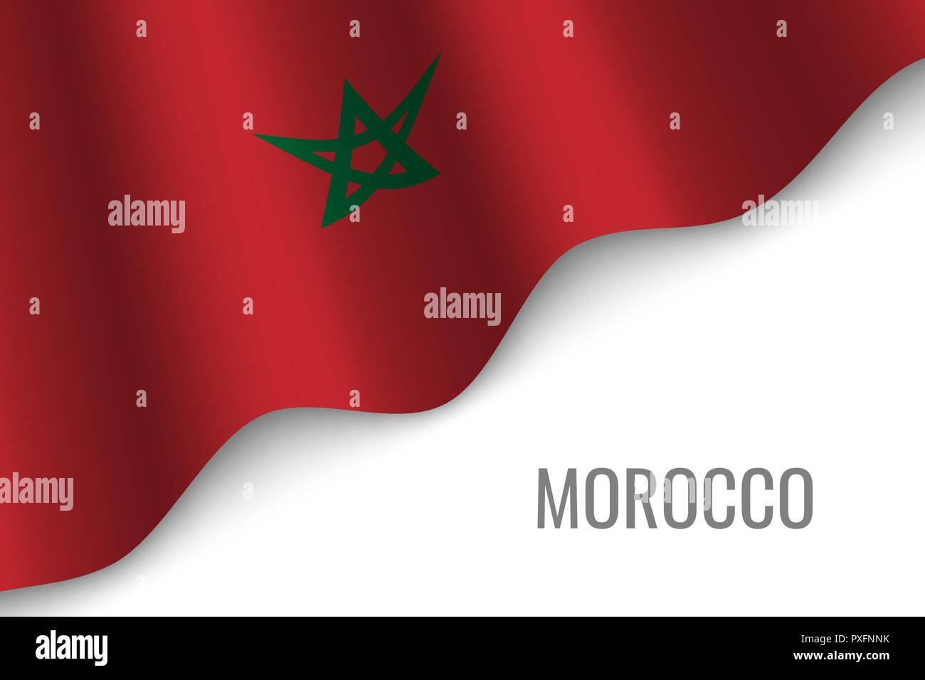 waving flag of Morocco with copyspace. Template for brochure. vector illustration - Stock Vector
