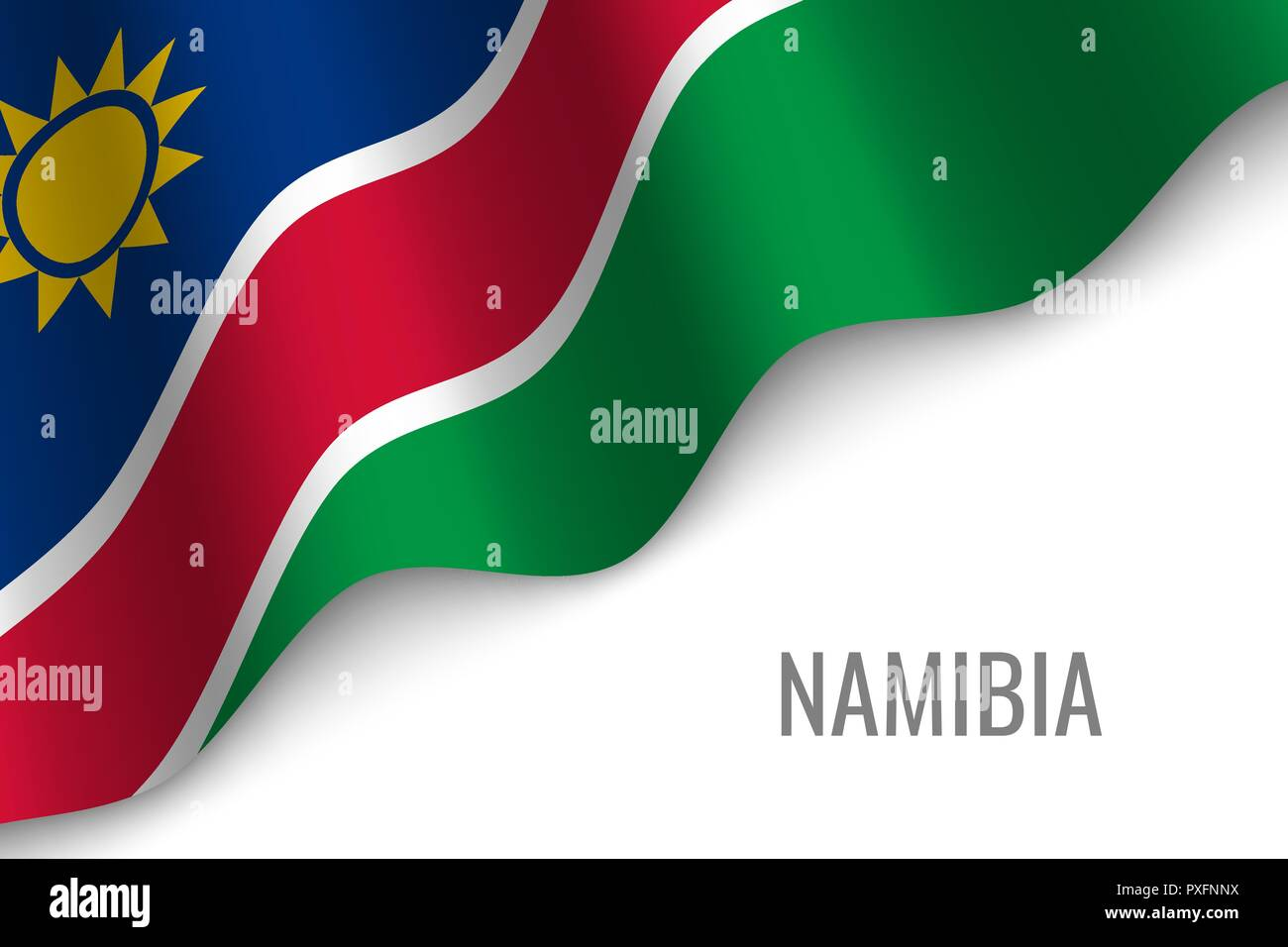 waving flag of Namibia with copyspace. Template for brochure. vector illustration - Stock Vector