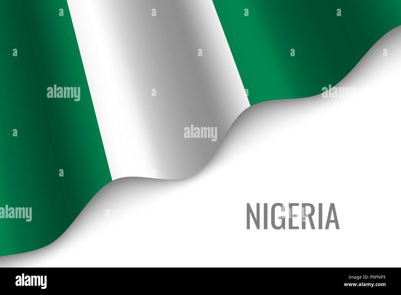 waving flag of Nigeria with copyspace. Template for brochure. vector illustration - Stock Vector