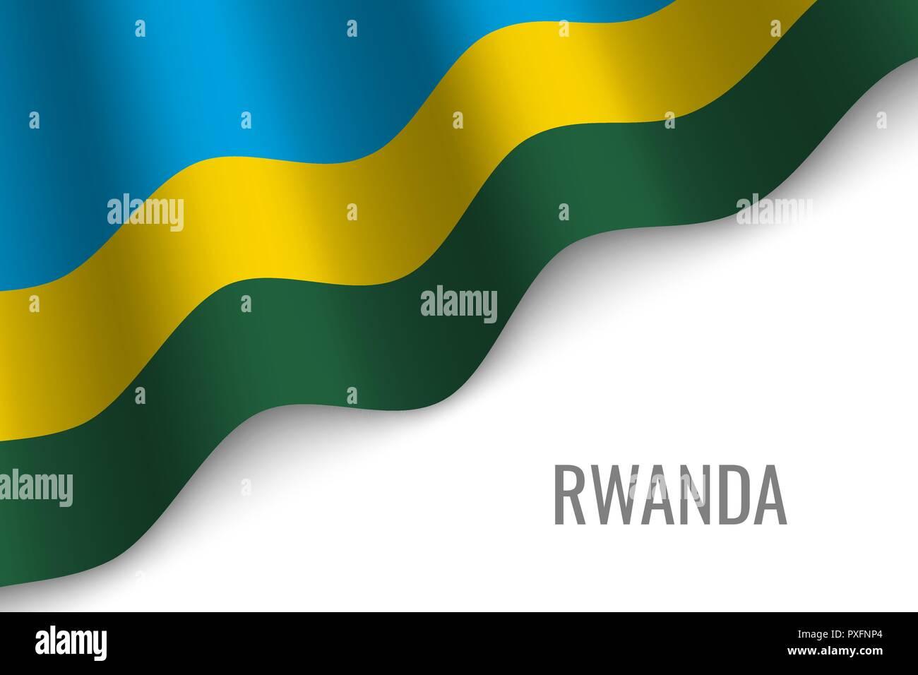 waving flag of Rwanda with copyspace. Template for brochure. vector illustration - Stock Vector