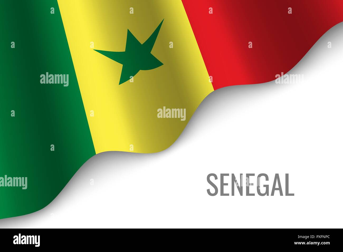 waving flag of Senegal with copyspace. Template for brochure. vector illustration - Stock Vector