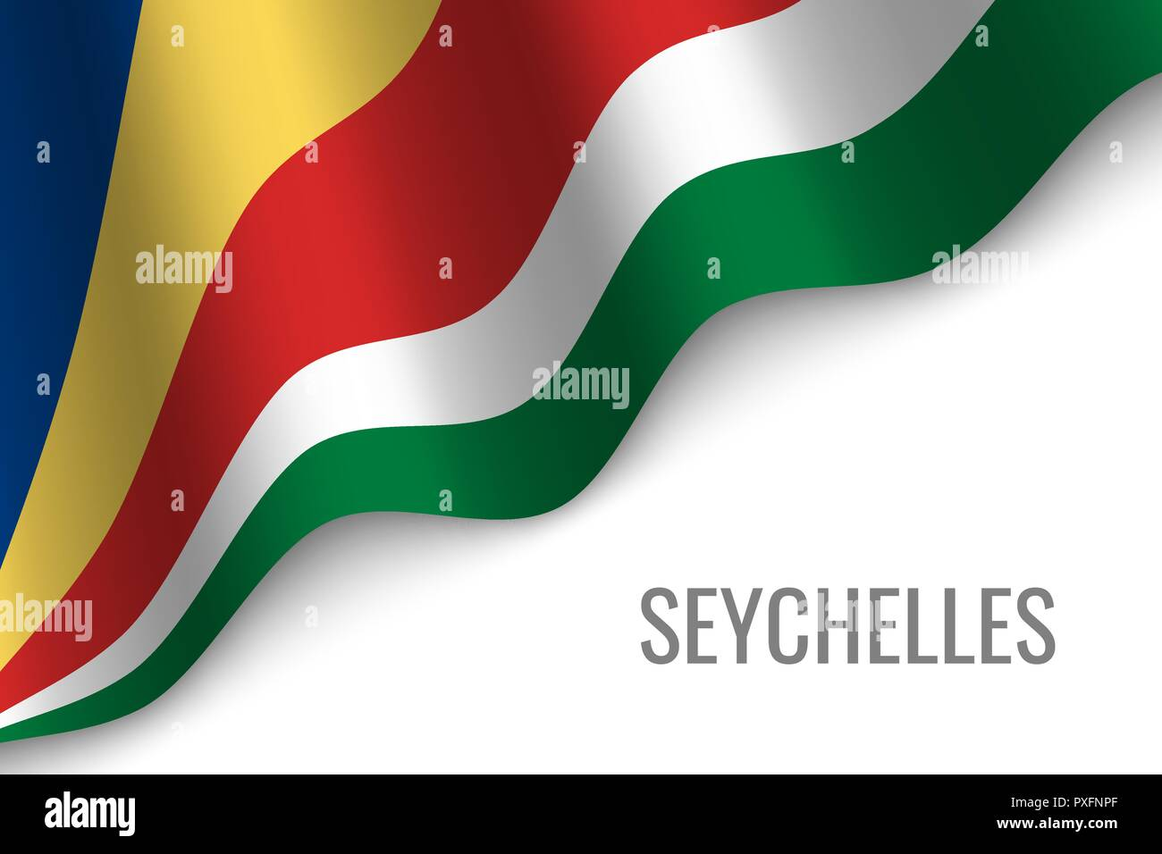 waving flag of Seychelles with copyspace. Template for brochure. vector illustration - Stock Vector