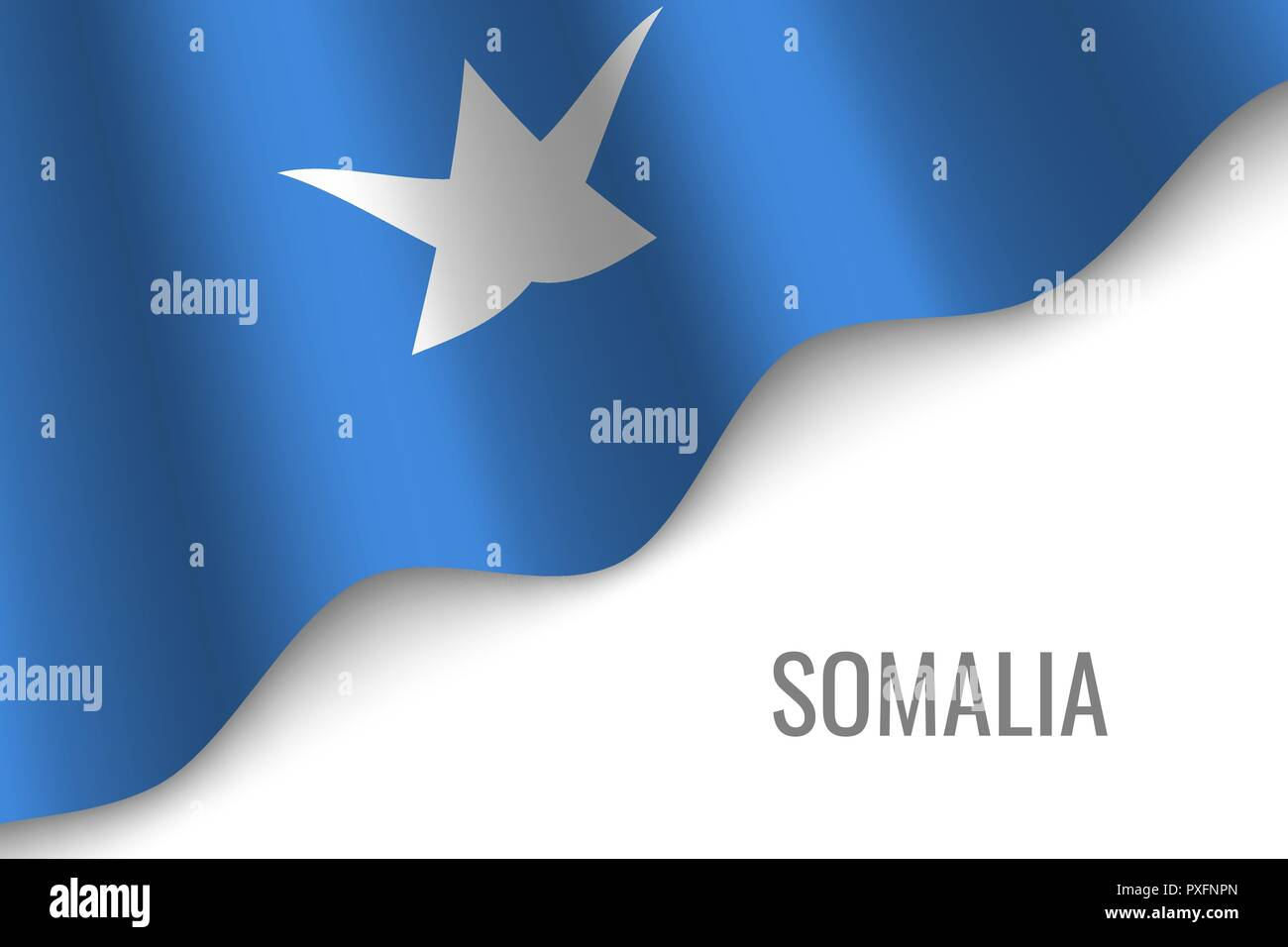 waving flag of Somalia with copyspace. Template for brochure. vector illustration - Stock Vector