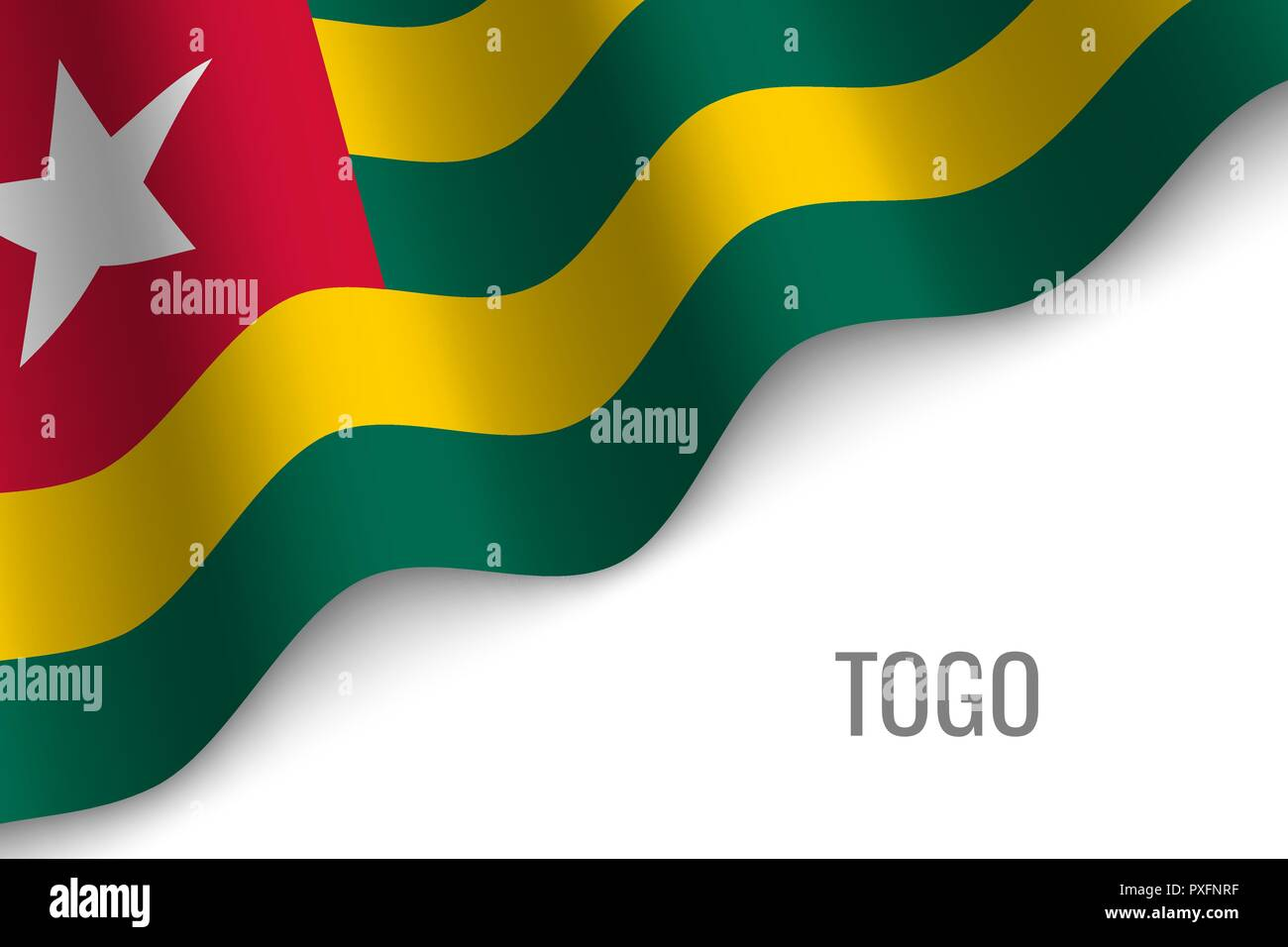 waving flag of Togo with copyspace. Template for brochure. vector illustration Stock Vector