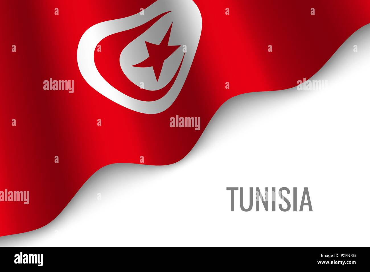 waving flag of Tunisia with copyspace. Template for brochure. vector illustration - Stock Vector