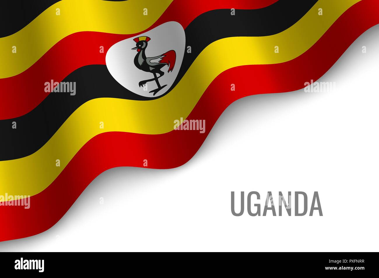 waving flag of Uganda with copyspace. Template for brochure. vector illustration - Stock Vector