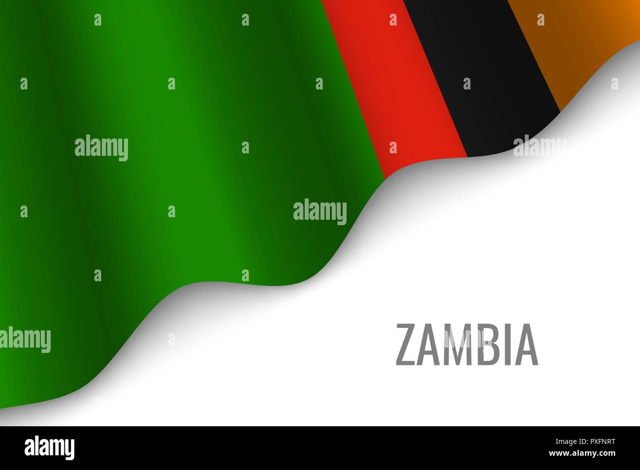 waving flag of Zambia with copyspace. Template for brochure. vector illustration - Stock Vector
