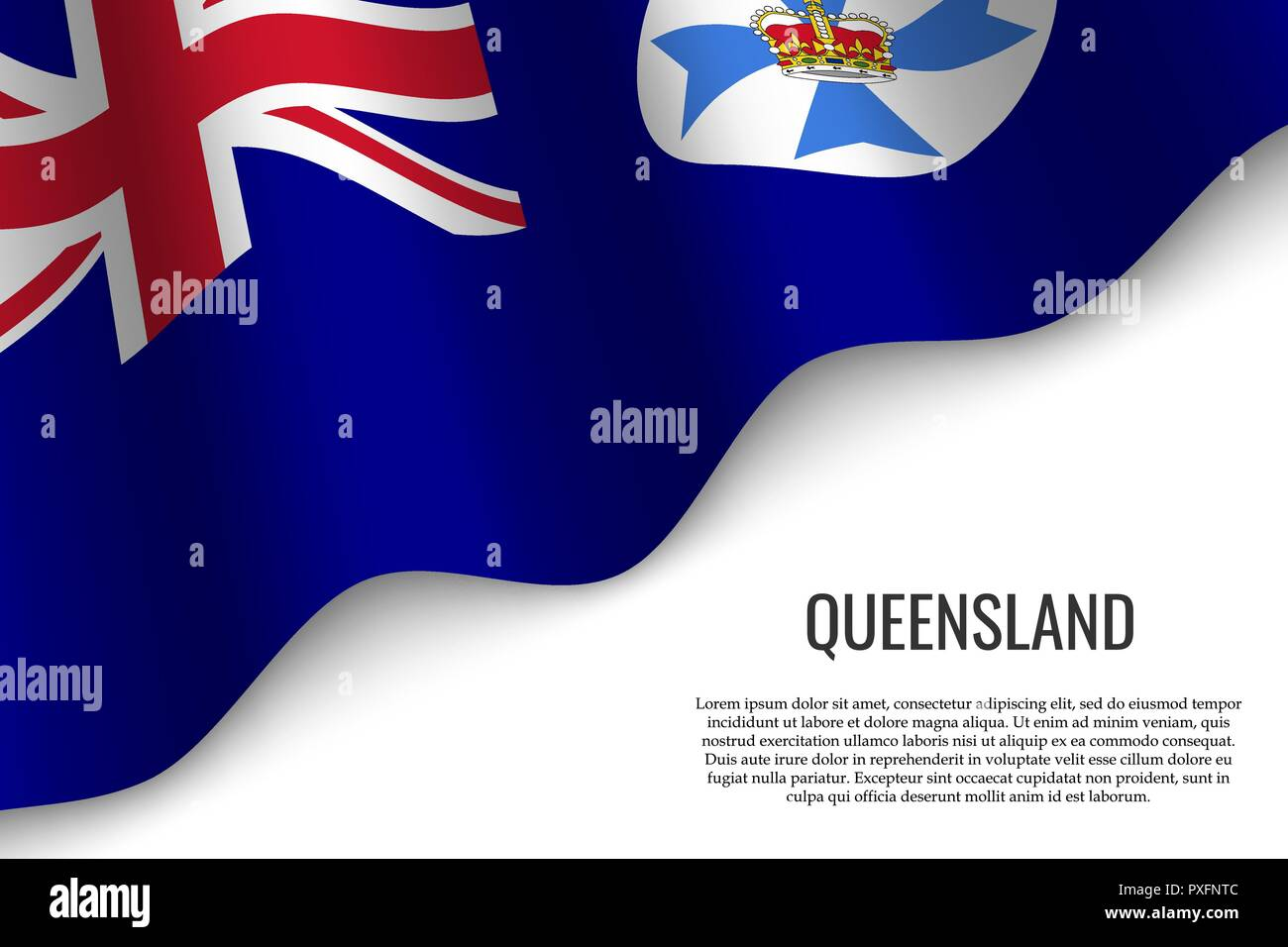 waving flag of Queensland is a region of Australia on transparent background. Template for banner or poster. - Stock Vector