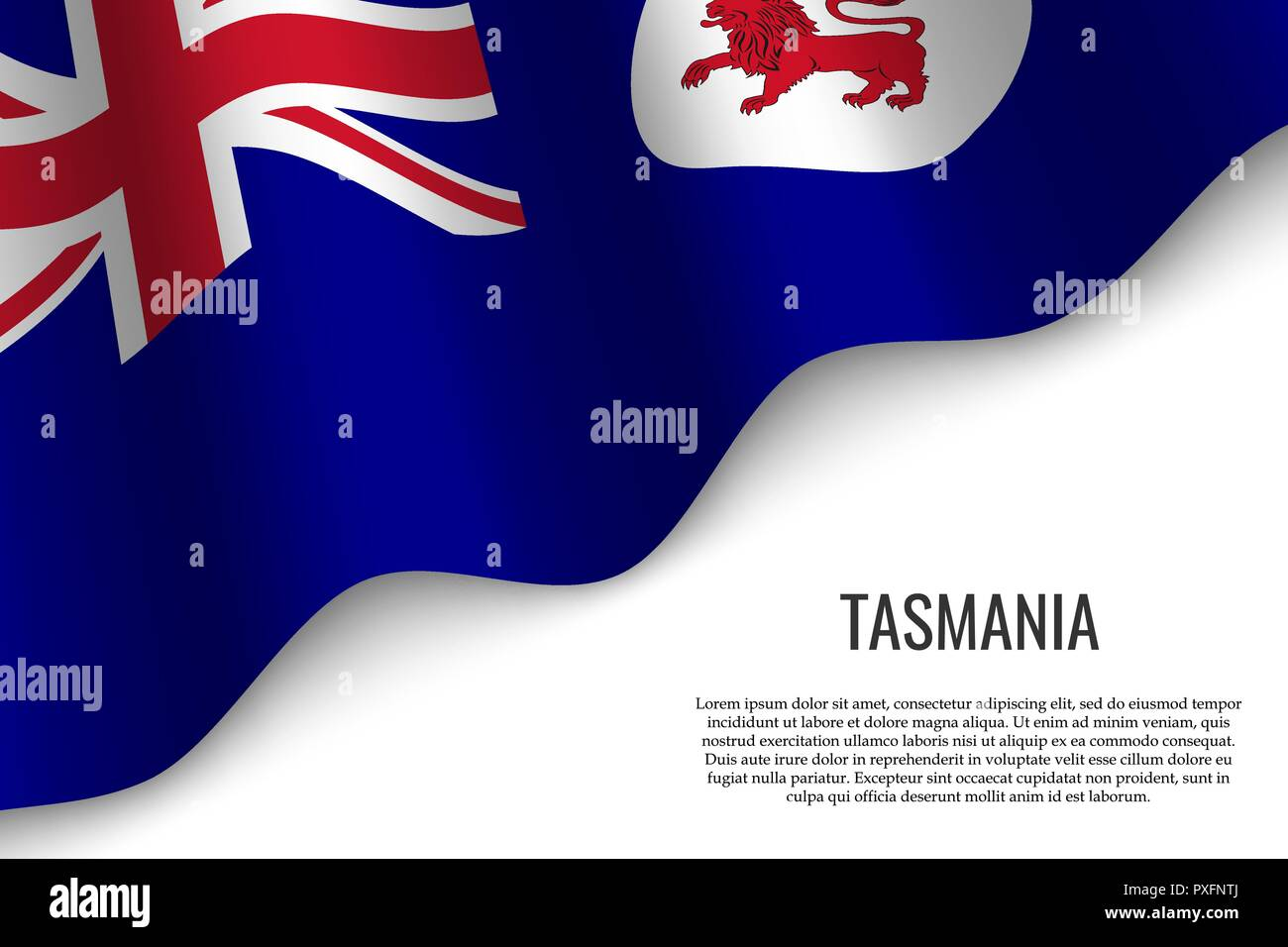 waving flag of Tasmania is a region of Australia on transparent background. Template for banner or poster. - Stock Vector