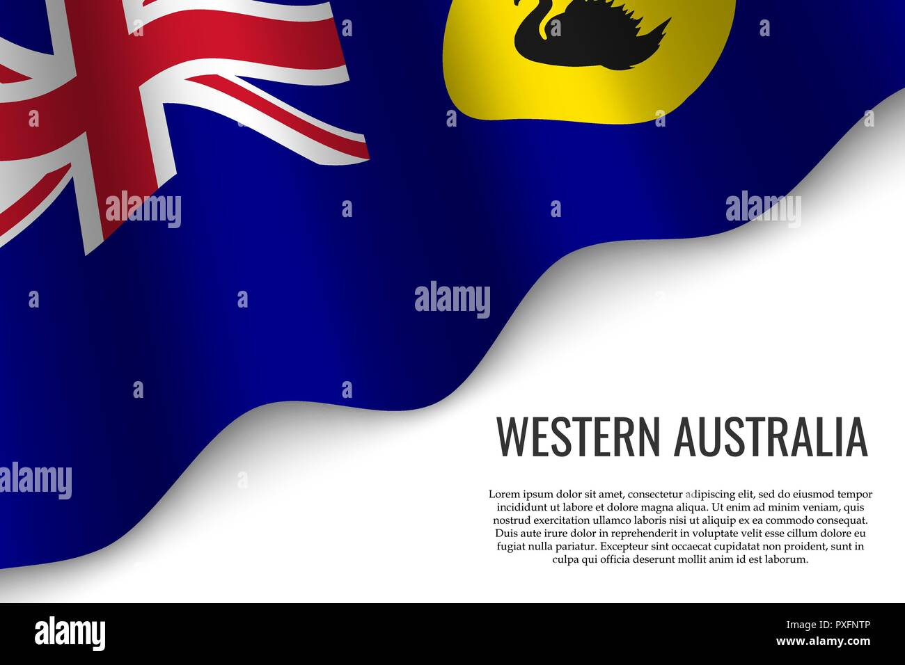waving flag of Western Australia is a region of Australia on transparent background. Template for banner or poster. - Stock Vector