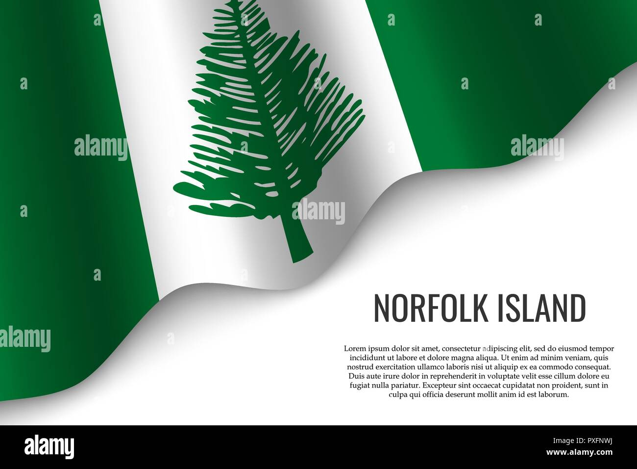 waving flag of Norfolk Island is a region of Australia on transparent background. Template for banner or poster. - Stock Vector