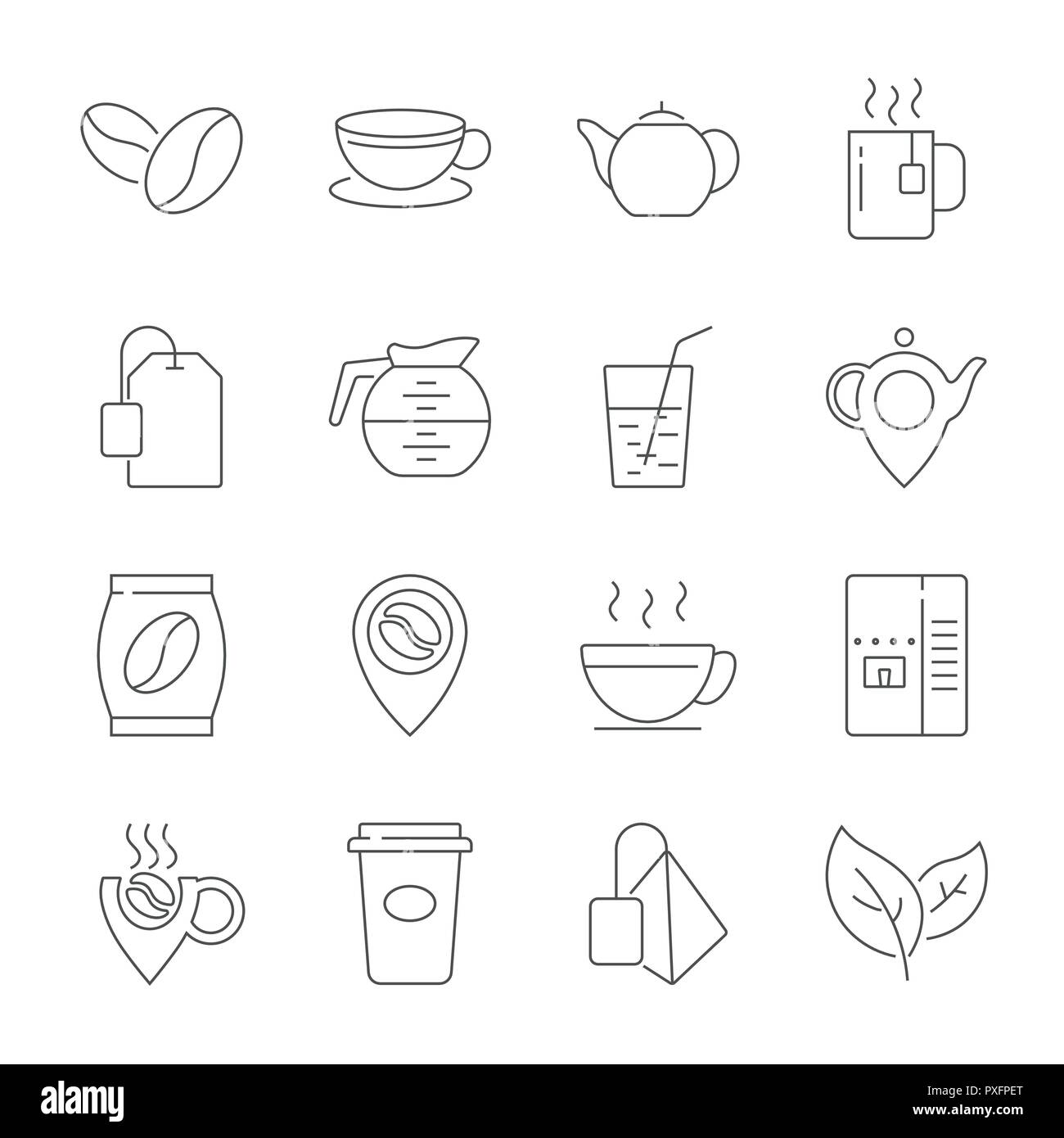 Set of Coffee and Tea Vector Line Icons. Contains such Icons as Cup of Tea, Teabags, Coffee beans and Green Tea Leaves, a pitcher of Water, Sugar Cubes and more. Editable Stroke. Stock Vector