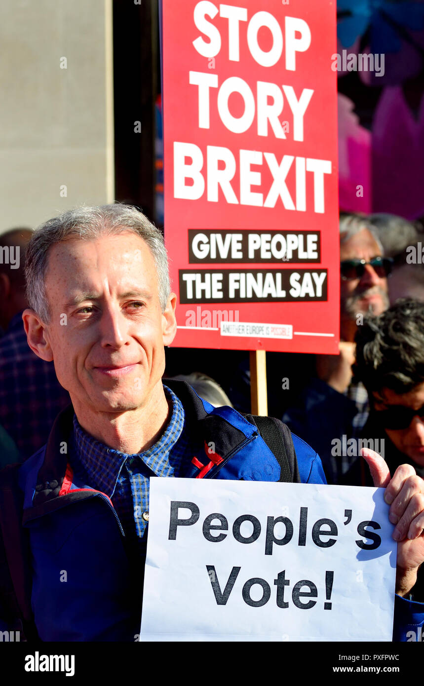 Peter Tatchell (human rights campaigner) at the People's Vote March in support of a second Brexit referendum, London, 20th October 2018 - Stock Image