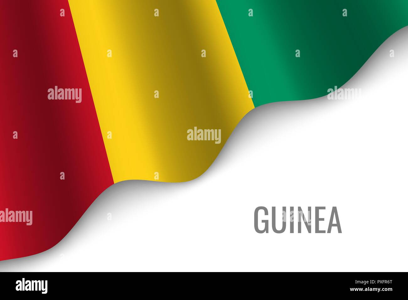 waving flag of Guinea with copyspace. Template for brochure. vector illustration - Stock Vector