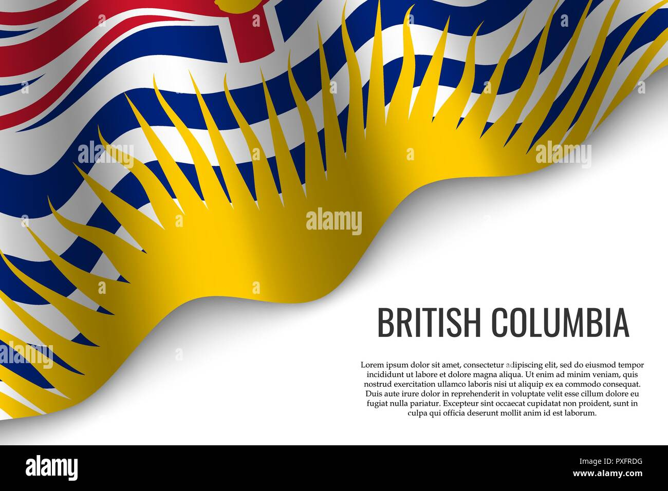 waving flag of British Columbia is a region of Canada on transparent background. Template for banner or poster. - Stock Vector