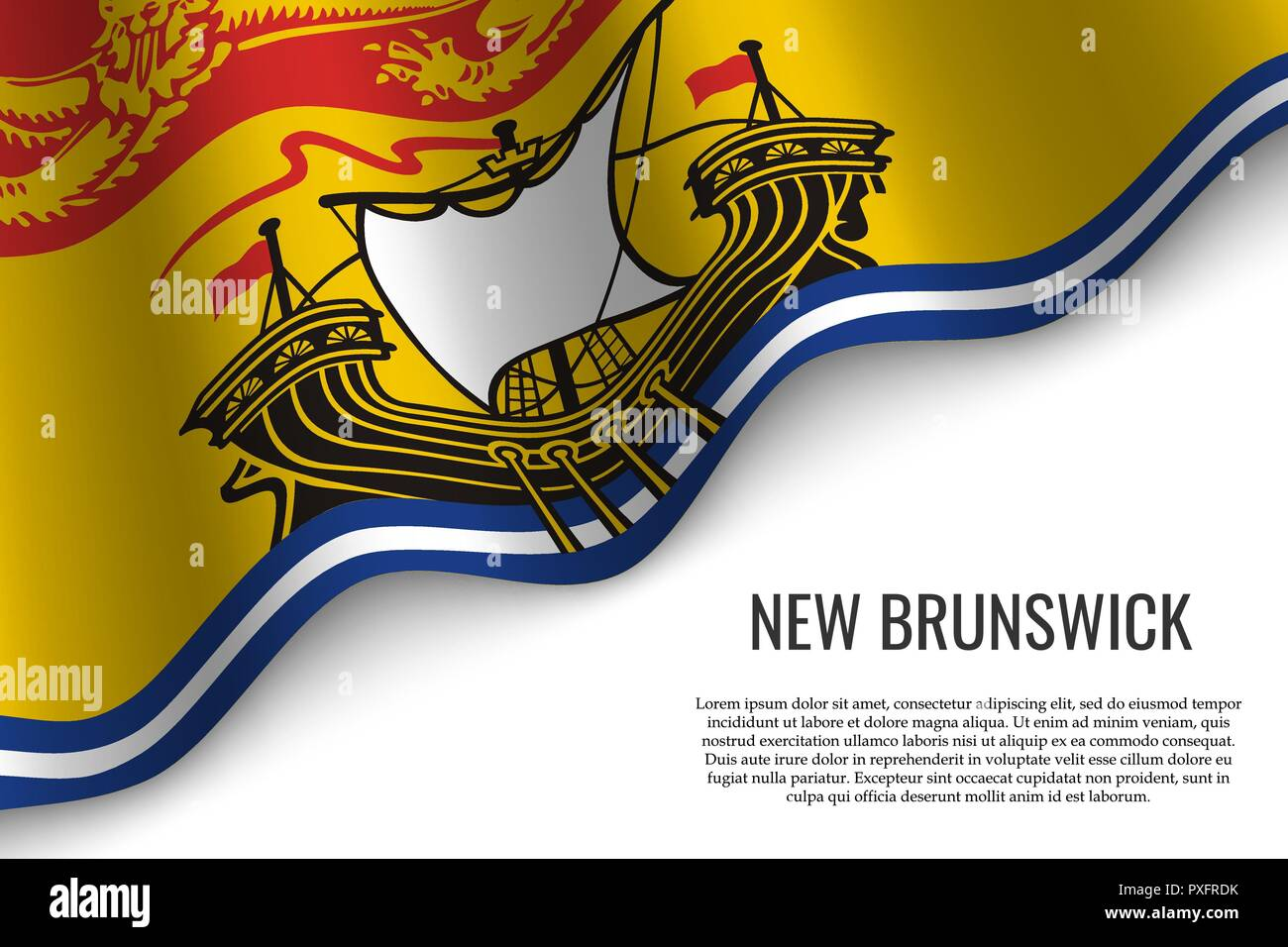 waving flag of New Brunswick is a region of Canada on transparent background. Template for banner or poster. - Stock Vector