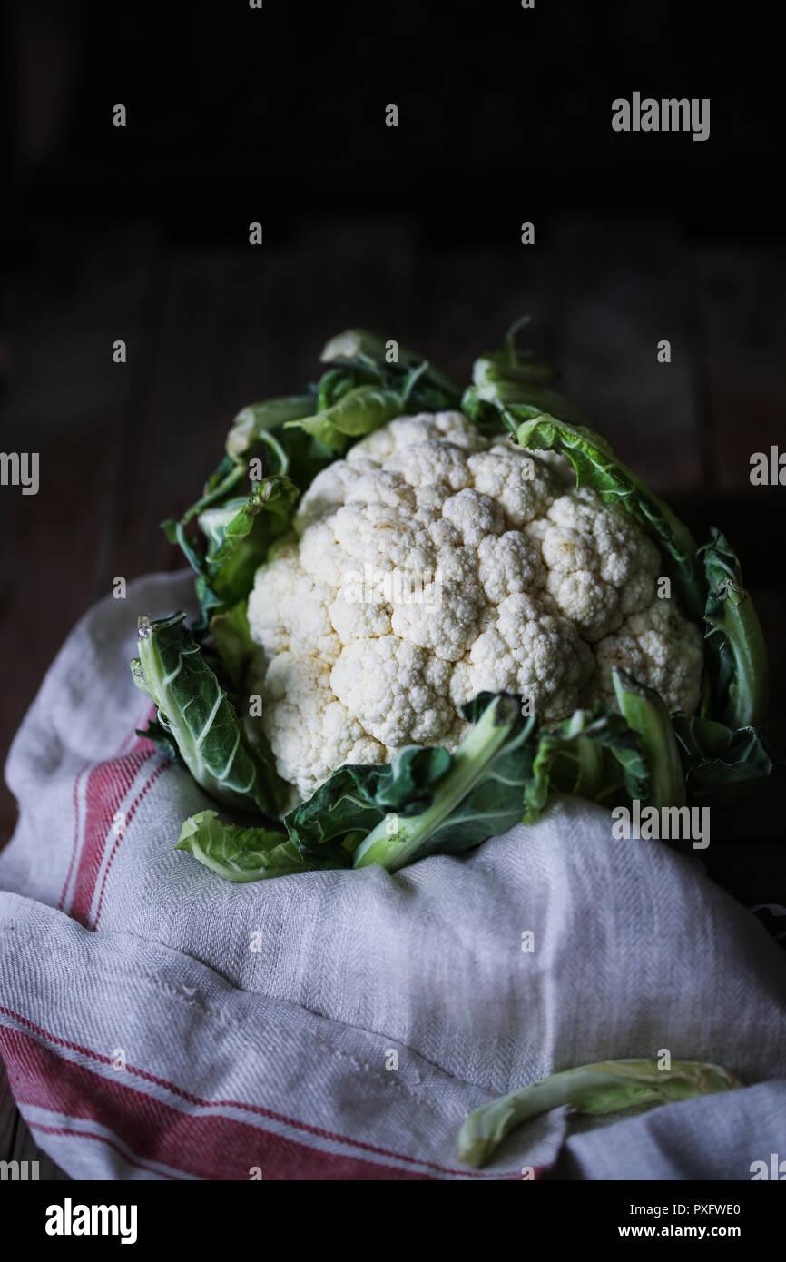 White raw cauliflower - Stock Image