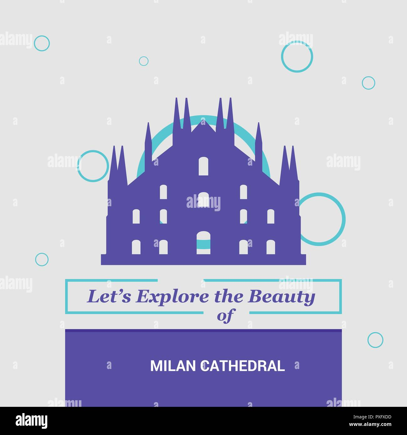 Let's Explore the beauty of Milan Cathedral, Italy. National Landmarks - Stock Vector